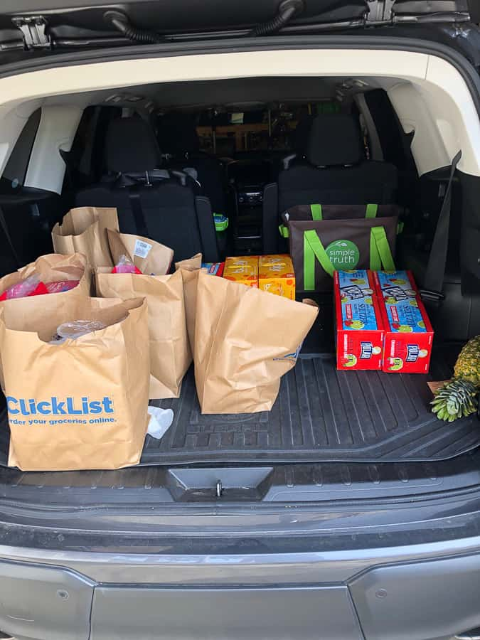 groceries in the back of a car