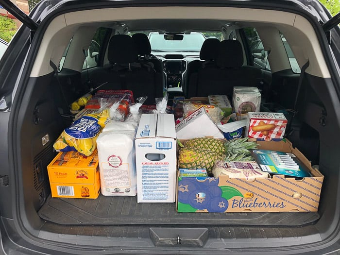 a car trunk full of groceries