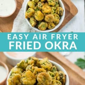 a white dish of air fryer okra on a wooden tray with dipping sauce