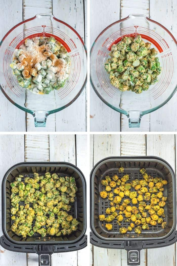 4 photos showing the process of making fried okra in the air fryer