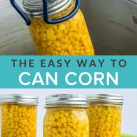 Canning tongs pulling a pint of sweet corn out of a pressure canner