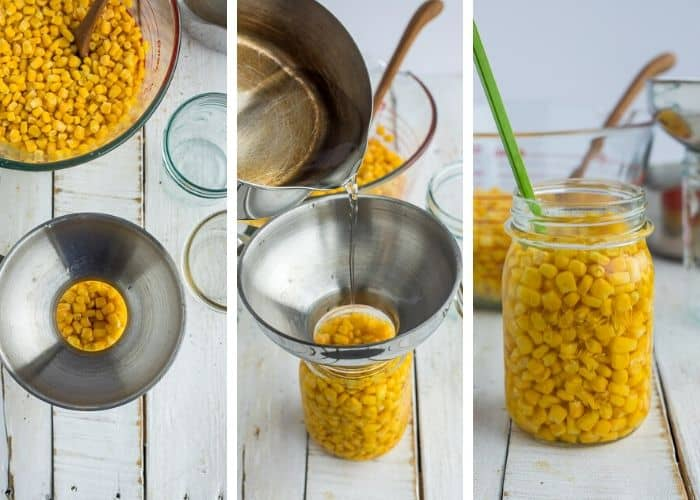 3 photos showing how to can corn