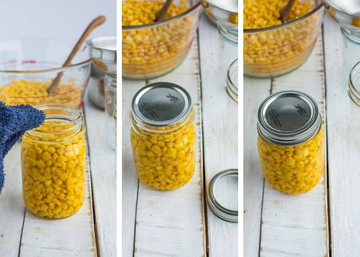 3 photos showing the process of canning corn
