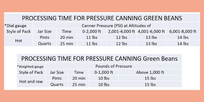 a guide for processing times for pressure canning green beans