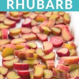 a tray of chopped rhubarb