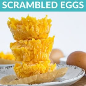 a stack of frozen scrambled eggs on a plate