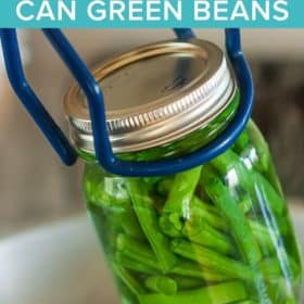 a jar of green beans being put into a pressure canner