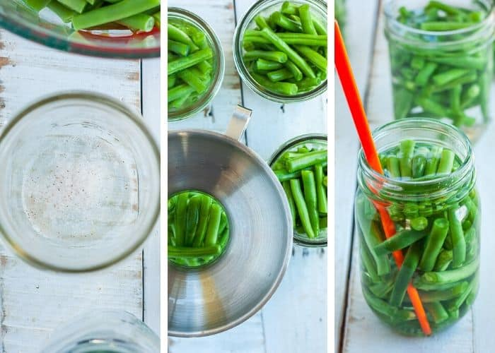3 photos showing the process of canning green beans