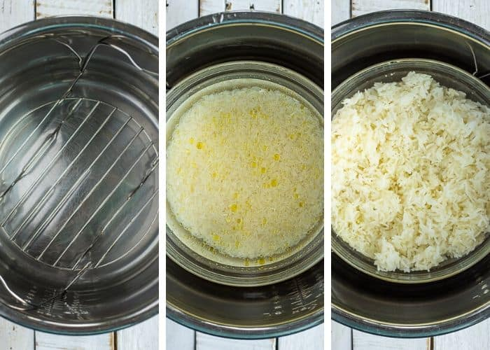 3 photos showing how to make pot in pot rice in an instant pot
