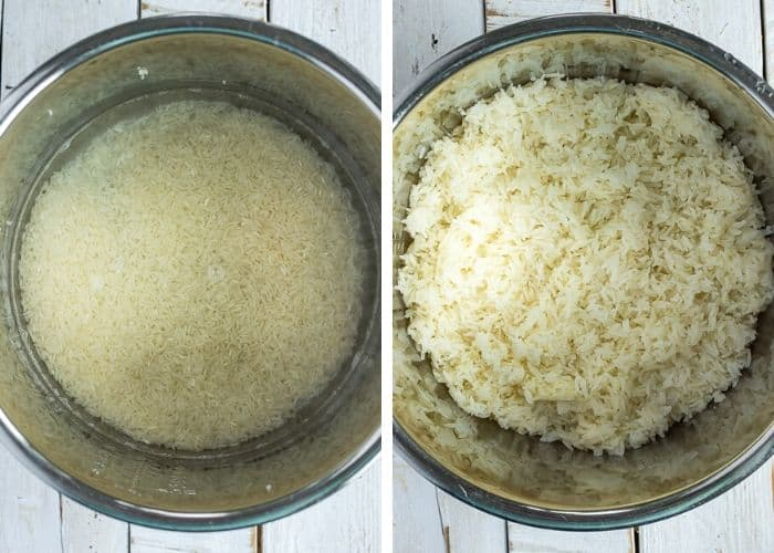 2 photos of jasmine rice in an Instant Pot