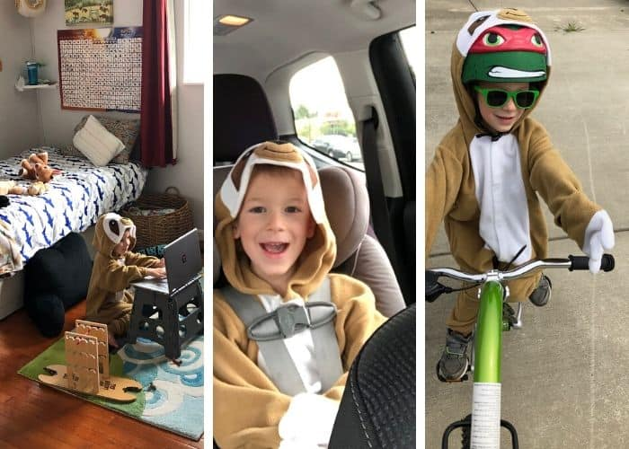 3 photos of a boy in a sloth costume