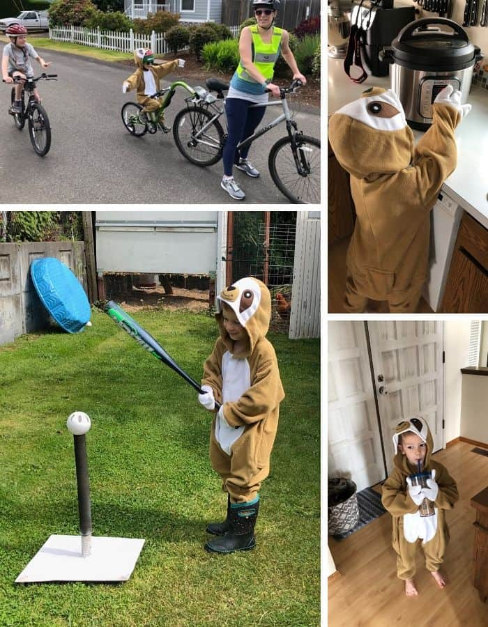 4 photos of a boy in a sloth costume