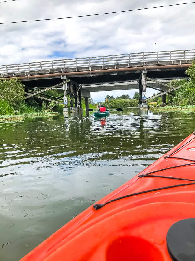 2 people in kayaks going under a bridge