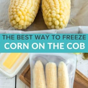 frozen ears of corn in a silicone zipper bag