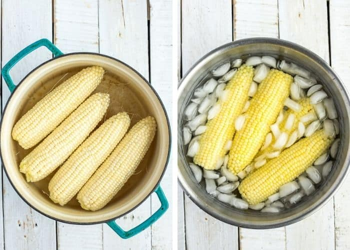 Two photos showing ears of corn in a pot and an ice bath for freezing corn on the cob