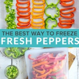 a baking sheet with different shapes of frozen peppers