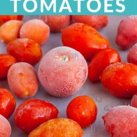 frozen tomatoes on a baking sheet
