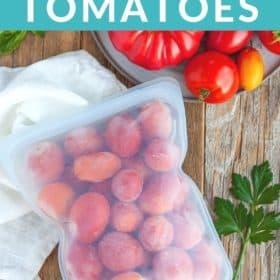 frozen tomatoes in silicone freezer bag