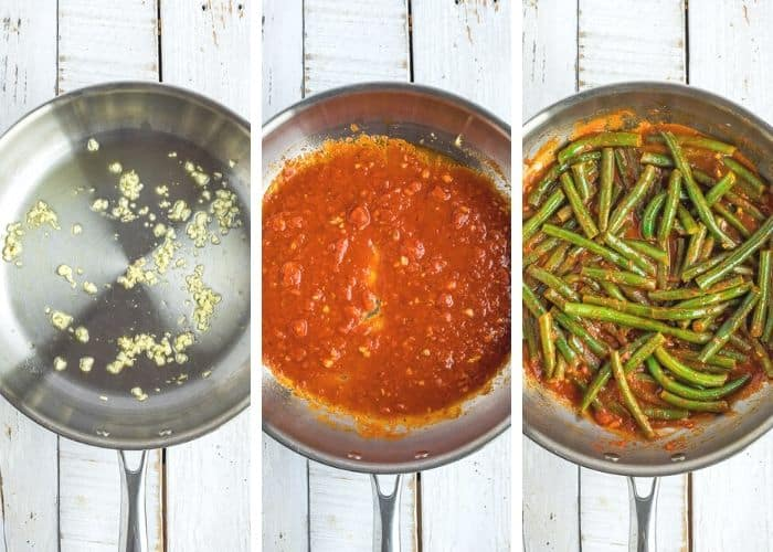 3 photos showing a skillet making tomato sauce and green beans
