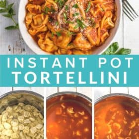 a white bowl of tortellini topped with chopped basil