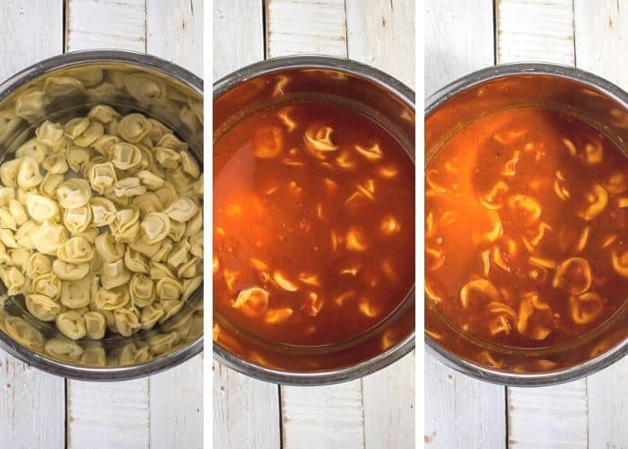 3 process photos showing how to make tortellini in the Instant Pot