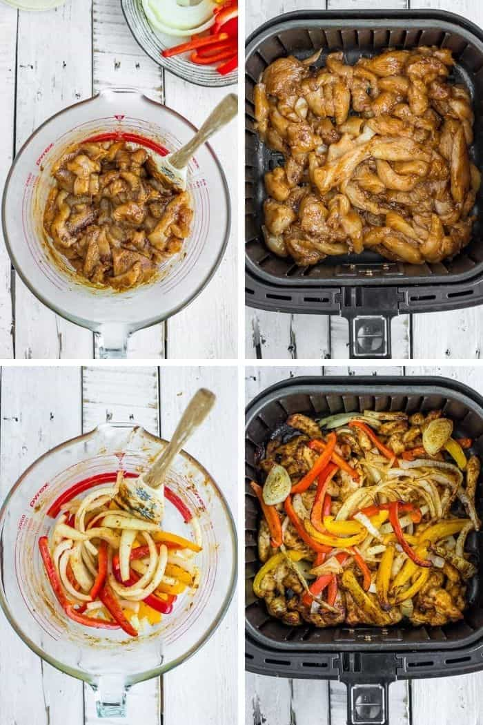 4 process photos showing how to make chicken fajitas in the air fryer