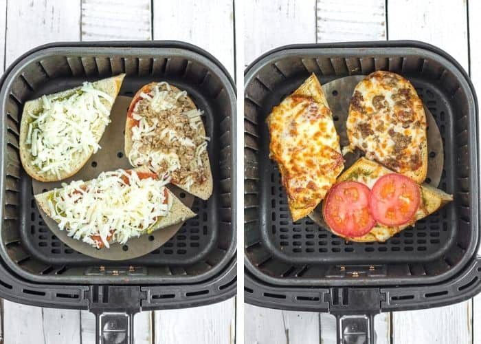 2 process photos showing how to make french bread pizzas in the air fryer