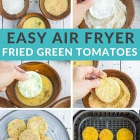 6 step by step photos showing how to dip and cook air fryer green tomatoes