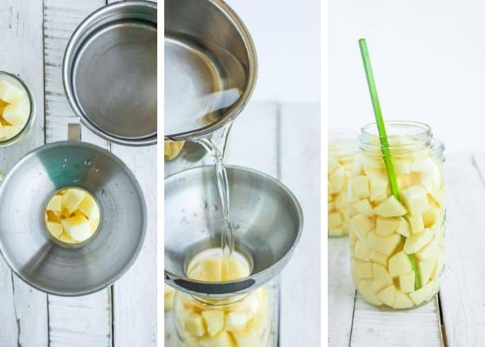3 process photos showing how to can potatoes