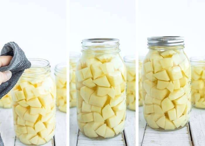 3 photos showing the process of canning potatoes