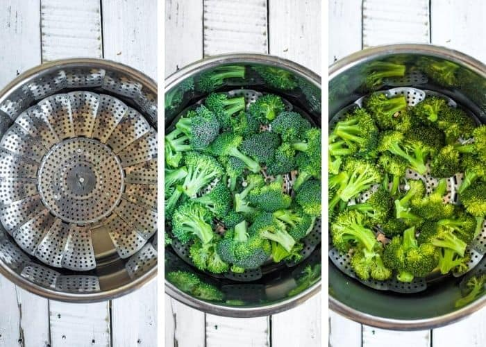 3 photos showing the process of steaming broccoli in the instant pot