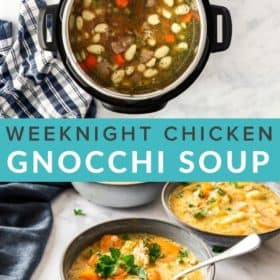 a grey bowl of Instant Pot chicken gnocchi soup with a spoon