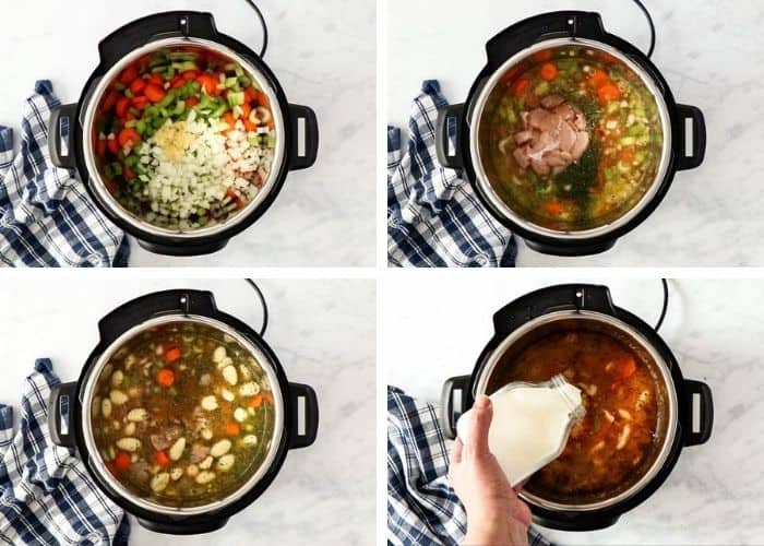 4 process photos showing how to make pressure cooker gnocchi soup