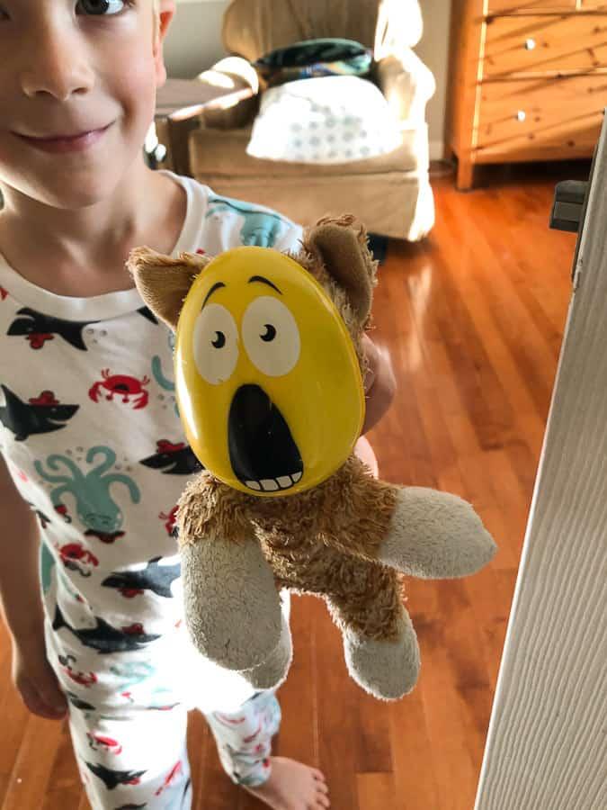 a boy holding a stuffed cat