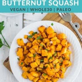 crispy air fryer butternut squash on a white plate