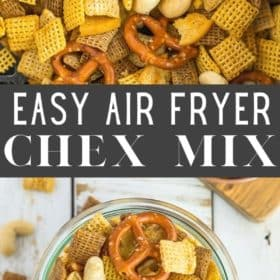 a close up photo of Air Fryer Chex Mix