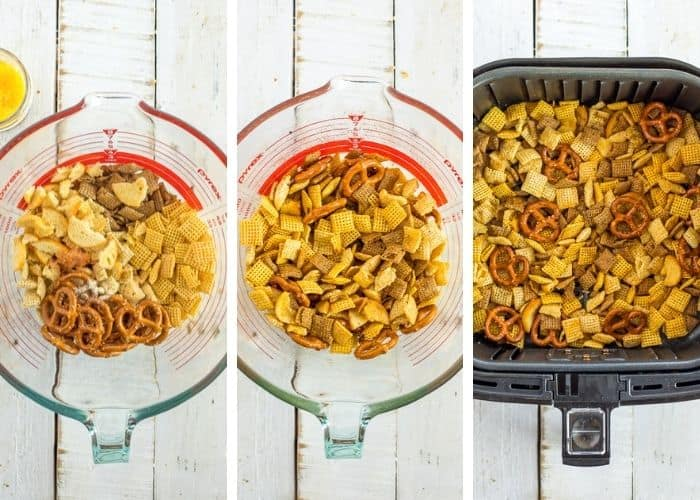 3 photos showing the process of making chex mix in the air fryer