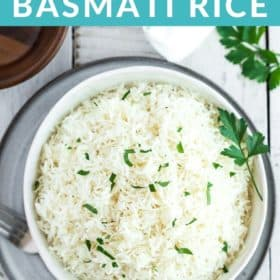 a bowl of instant pot basmati rice topped with parsley
