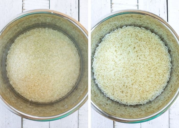 2 photos showing how to make basmati rice in an instant pot