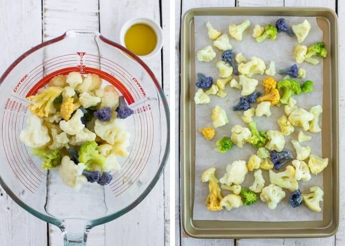 2 photos showing the process of how to roast frozen cauliflower