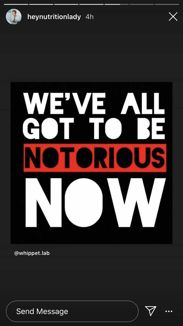 "an instragram post that says ""we've all got to be notorious now"""
