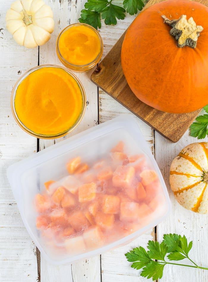 a bag of cubed frozen pumpkin with mini pumpkins