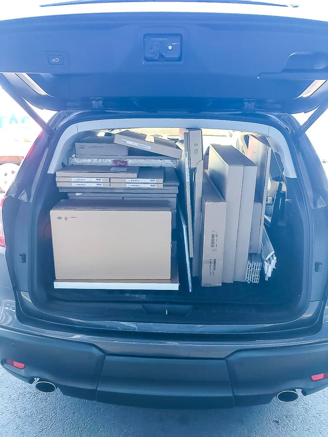 a car packed with boxes