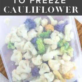 a silicone bag full of frozen cauliflower