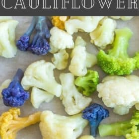 a baking sheet with frozen cauliflower