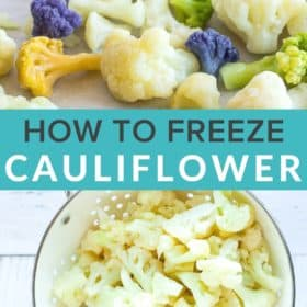 a baking sheet with frozen cauliflower