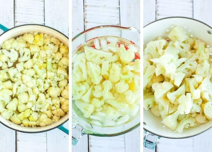 3 steps showing how to freeze cauliflower