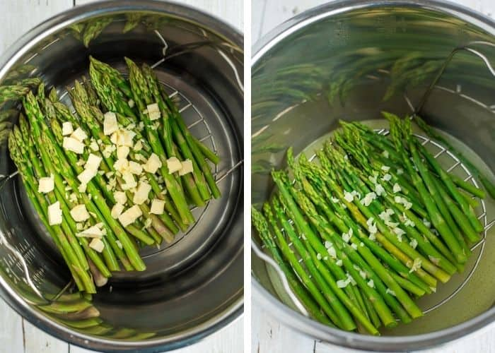 2 photos showing how to cook asparagus in an instant pot