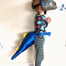 a boy in a dino costume