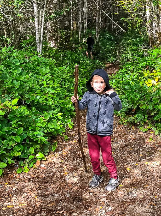 a boy in the woods holding a stick